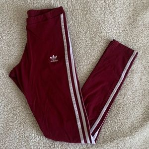 Adidas 3 Striped Legging // Burgundy